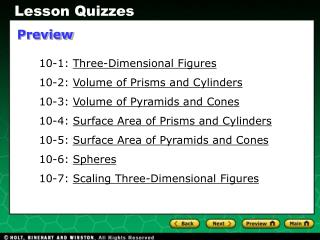 10-1:  Three-Dimensional Figures 10-2:  Volume of Prisms and Cylinders