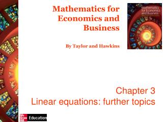 Chapter 3 Linear equations: further topics