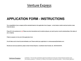 APPLICATION FORM - INSTRUCTIONS