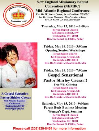 A Gospel Sensation   Pastor Shirley Caesar Mid-Atlantic Regional  Conference  Registration, $10.00