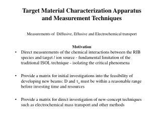 Target Material Characterization Apparatus Measurement Technique