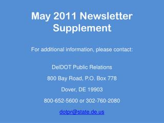 May 2011 Newsletter Supplement