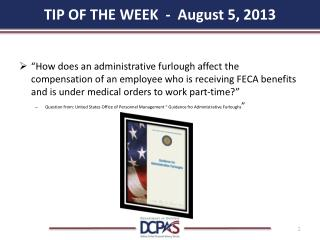 TIP OF THE WEEK  -  August 5, 2013