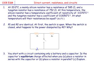 Direct current, resistance, and circuits