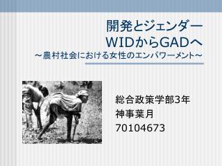 開発とジェンダー  WID から GAD へ ~農村社会における女性のエンパワーメント~