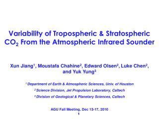 Xun Jiang 1 , Moustafa Chahine 2 , Edward Olsen 2 , Luke Chen 2 , and Yuk Yung 3