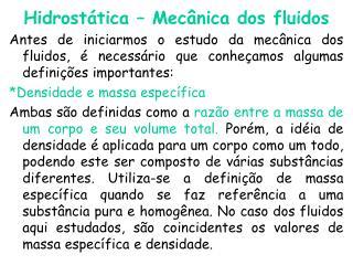 Hidrostática – Mecânica dos fluidos