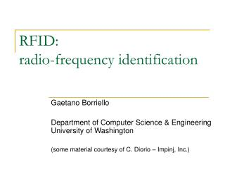 RFID:  radio-frequency identification