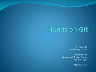 Hands on  Git