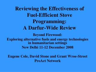 Reviewing the Effectiveness of Fuel-Efficient Stove Programming:  A Darfur-Wide Review