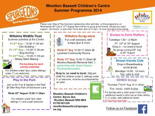 Wiltshire Wildlife Trust  Summer activities at the Centre
