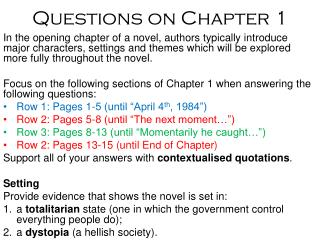 Questions on Chapter 1