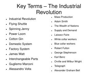 Key Terms – The Industrial Revolution