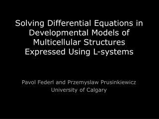 Pavol Federl and Przemyslaw Prusinkiewicz University of Calgary