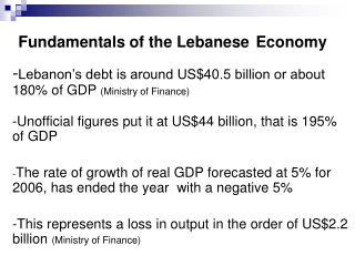 Fundamentals of the Lebanese Economy