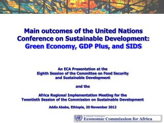 An ECA Presentation at the  Eighth Session of the Committee on Food Security