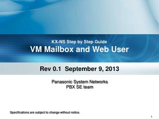 KX-NS Step by Step Guide VM Mailbox and Web User
