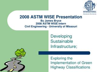 Developing Sustainable Infrastructure;
