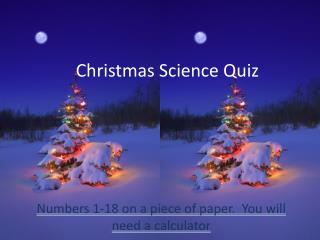 Christmas Science Quiz