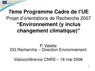 P. Valette DG Recherche – Direction Environnement Visioconférence CNRS – 18 mai 2006