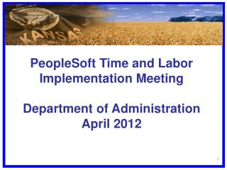 PeopleSoft Time and Labor Implementation Meeting Department of Administration April 2012