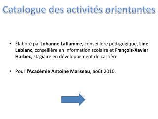 Catalogue des activit s orientantes