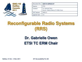 Reconfigurable Radio Systems RRS
