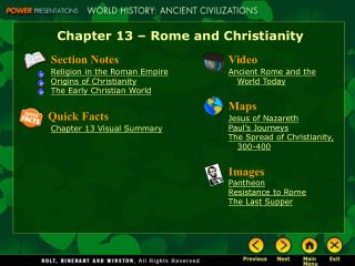 Chapter 13 – Rome and Christianity