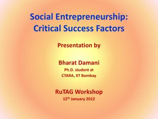 Social Entrepreneurship:  Critical Success Factors