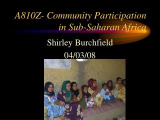 A810Z- Community Participation in Sub-Saharan Africa