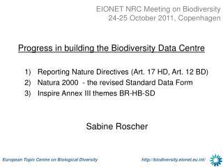 EIONET NRC Meeting on Biodiversity 24-25 October 2011, Copenhagen