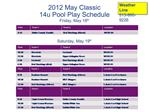 2012 May Classic  14u Pool Play Schedule  Friday, May 18th    Saturday, May 19th