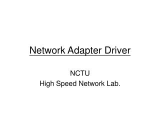 Network Adapter Driver