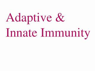 Adaptive & Innate Immunity