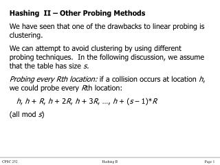 Hashing  II � Other Probing Methods