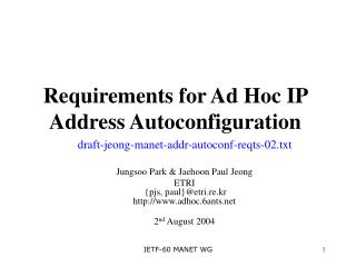 Requirements for Ad Hoc IP Address Autoconfiguration
