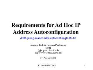 Requirements for Ad Hoc IP Address Autoconfiguration