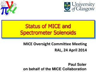 Status of MICE and  Spectrometer Solenoids