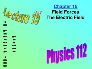 Chapter 15 Field Forces The Electric Field