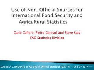 Use of Non-Official Sources for International Food Security and Agricultural Statistics