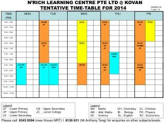 TENTATIVE TIME-TABLE FOR 2014