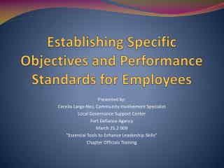 Establishing Specific Objectives and Performance Standards for Employees
