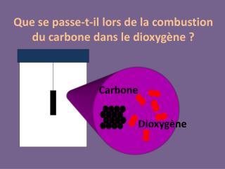 Que se passe-t-il lors de la combustion du carbone dans le dioxyg ne