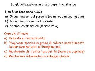 La globalizzazione in una prospettiva storica