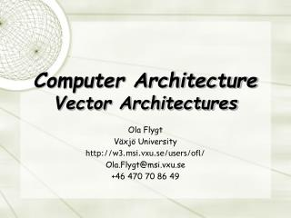 Computer Architecture Vector Architectures