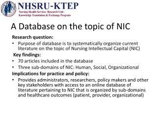 A Database on the topic  of NIC