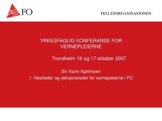 YRKESFAGLIG KONFERANSE FOR  VERNEPLEIERNE Trondheim 16 og 17 oktober 2007