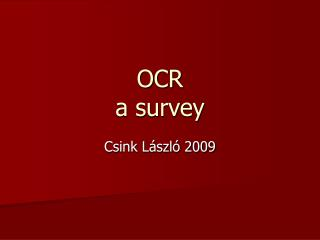 OCR  a survey