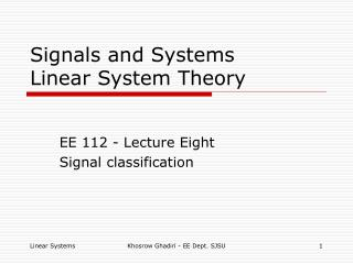 Signals and Systems Linear System Theory