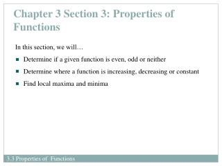 Chapter 3 Section 3: Properties of Functions